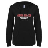 ENZA Ladies Black V Notch Raw Edge Fleece Hoodie-Football Wordmark