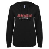 ENZA Ladies Black V Notch Raw Edge Fleece Hoodie-Basketball Wordmark