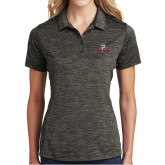 Ladies Charcoal Electric Heather Polo-Primary Mark