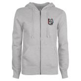 ENZA Ladies Grey Fleece Full Zip Hoodie-Amcat Head