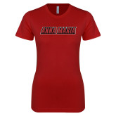 Next Level Ladies SoftStyle Junior Fitted Cardinal Tee-Wordmark