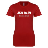 Next Level Ladies SoftStyle Junior Fitted Cardinal Tee-Basketball Wordmark