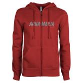 ENZA Ladies Cardinal Fleece Full Zip Hoodie-A Silver Soft Glitter