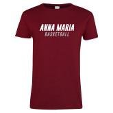 Ladies Cardinal T Shirt-Basketball Wordmark
