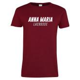 Ladies Cardinal T Shirt-Lacrosse Wordmark