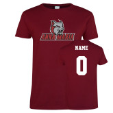 Ladies Cardinal T Shirt-Primary Mark, Custom Tee w/ Name and #