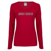 Ladies Cardinal Long Sleeve V Neck Tee-A Silver Soft Glitter