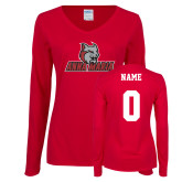 Ladies Cardinal Long Sleeve V Neck Tee-Primary Mark, Custom Tee w/ Name and #