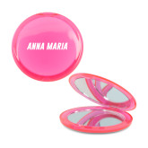 Pink Round Compact With 2x Magnifier Mirror-Wordmark