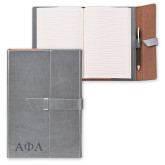Fabrizio Junior Grey Portfolio w/Loop Closure-Greek Letters Engraved