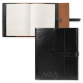 Fabrizio Black Portfolio w/Loop Closure-Greek Letters Engraved