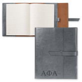 Fabrizio Grey Portfolio w/Loop Closure-Greek Letters Engraved