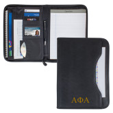Wall Street Black Zippered Padfolio-Greek Letters