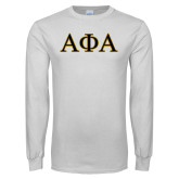 White Long Sleeve T Shirt-Greek Letters Outlined