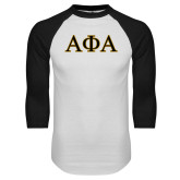 White/Black Raglan Baseball T-Shirt-Greek Letters Outlined