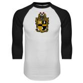 White/Black Raglan Baseball T-Shirt-Crest