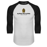 White/Black Raglan Baseball T-Shirt-Alpha Phi Alpha Mission Focused