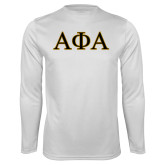 Syntrel Performance White Longsleeve Shirt-Greek Letters Outlined