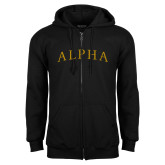 Black Fleece Full Zip Hoodie-Alpha Arched