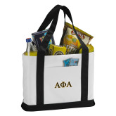 Contender White/Black Canvas Tote-Greek Letters Outlined