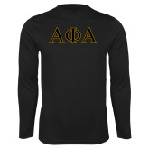 Syntrel Performance Black Longsleeve Shirt-Greek Letters Outlined