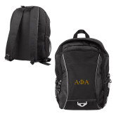 Atlas Black Computer Backpack-Greek Letters