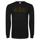 Black Long Sleeve TShirt-Greek Letters Outlined
