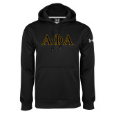 Under Armour Black Performance Sweats Team Hoodie-Greek Letters Outlined