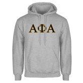 Grey Fleece Hoodie-Greek Letters Outlined