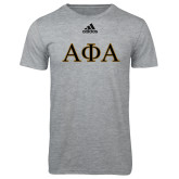 Adidas Sport Grey Logo T Shirt-Greek Letters Outlined