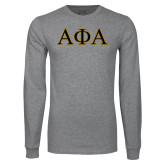 Grey Long Sleeve T Shirt-Greek Letters Outlined