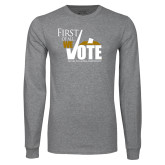 Grey Long Sleeve T Shirt-First of all We Vote