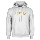 White Fleece Hoodie-Alpha Arched