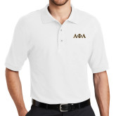 White Easycare Pique Polo-Greek Letters Outlined