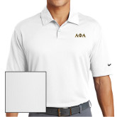 Nike Dri Fit White Pebble Texture Sport Shirt-Greek Letters Outlined