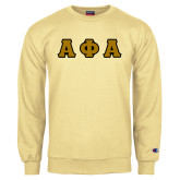 Champion Vegas Gold Fleece Crew-Tackle Twill Greek Letters