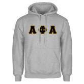 Grey Fleece Hoodie-Tackle Twill Greek Letters