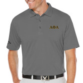 Callaway Opti Dri Steel Grey Chev Polo-Greek Letters Outlined