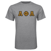 Grey T Shirt-Tackle Twill Greek Letters
