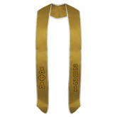 2017 Vegas Gold Graduation Stole w/White Trim-Tackle Twill Greek Letters Stacked