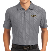 Nike Dri Fit Charcoal Embossed Polo-Greek Letters Outlined