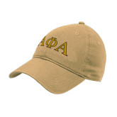 Vegas Gold Twill Unstructured Low Profile Hat-Greek Letters Outlined