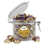 Snickers Satisfaction Round Canister-Greek Letters Outlined
