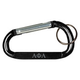 Black Carabiner with Split Ring-Greek Letters Engraved