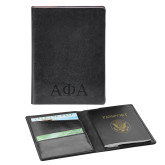 Fabrizio Black RFID Passport Holder-Greek Letters Engraved