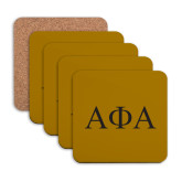 Hardboard Coaster w/Cork Backing 4/set-Greek Letters