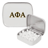 White Rectangular Peppermint Tin-Greek Letters Outlined