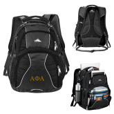 High Sierra Swerve Black Compu Backpack-Greek Letters