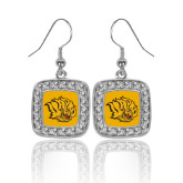 Crystal Studded Square Pendant Silver Dangle Earrings-Golden Lion Head