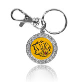 Crystal Studded Round Key Chain-Golden Lion Head